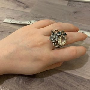 Jewelry - Silver Topaz Fairy Floral Cocktail Ring